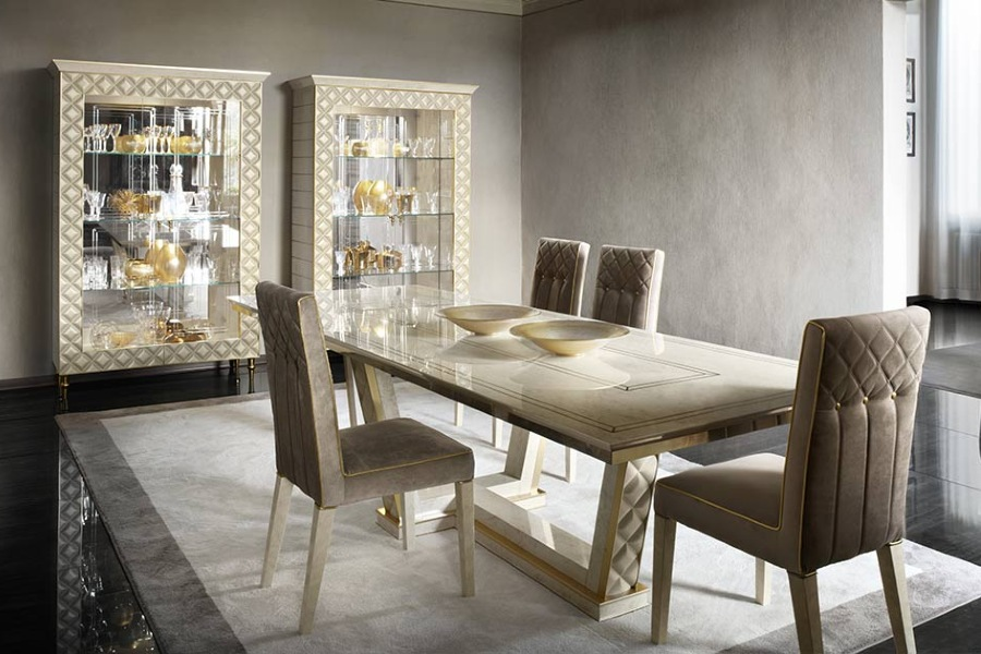 Contemporary dining table: seats set