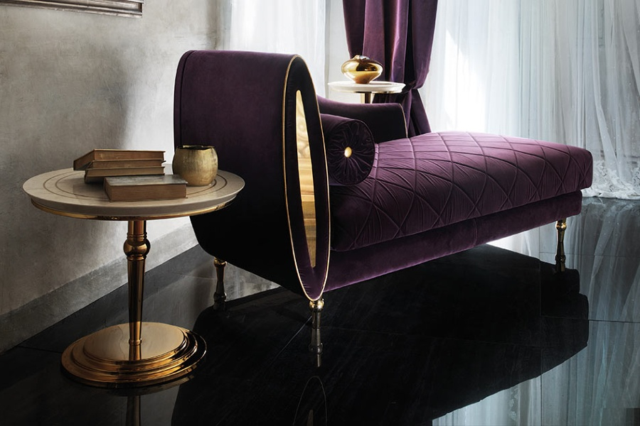 Contemporary interior design: purple fabric