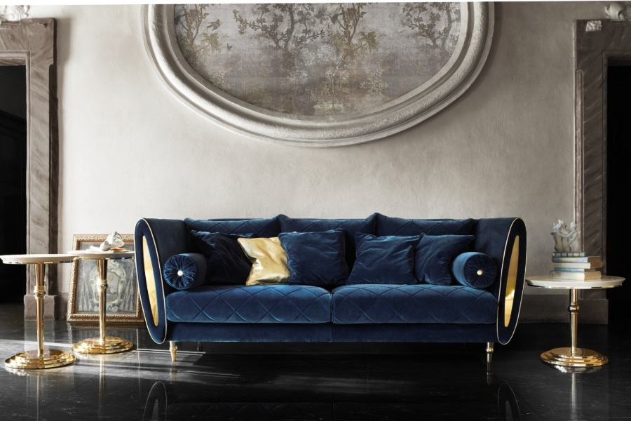 Three-seater velvet contemporary sofa