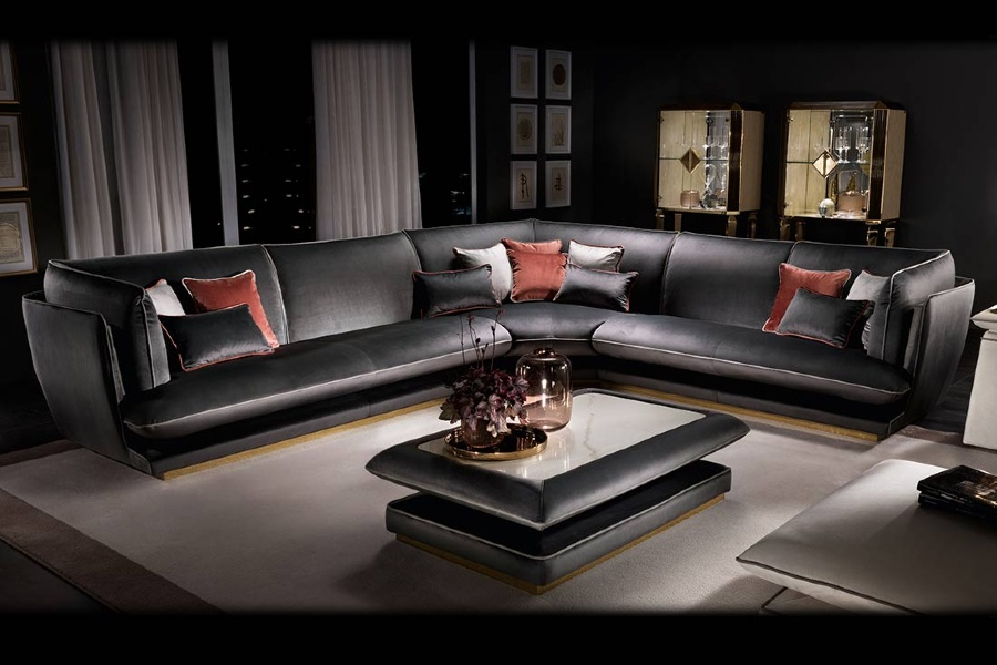 Eco-leather corner contemporary sofa