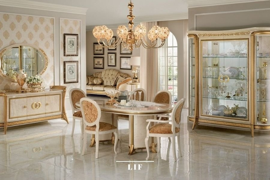 Neoclassic dining table: material and finishes