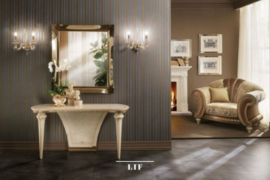 Neoclassical sofa: wallpaper in line with the concept