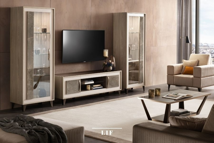 contemporary living room sets: area and height of the living room