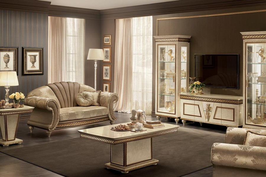 Select furniture embellished with gilded friezes, cymas and columns
